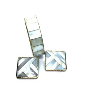 VTG Gorgeous Mother of Pearl Earrings & Bracelet